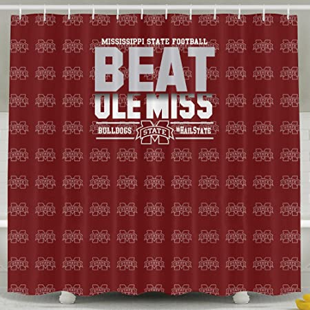 IWKULAD Mississippi State Bulldogs Maroon 2015 Beat Ole Miss Long Customized Shower Curtains