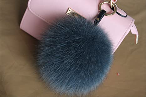 a772fe852635 Image Unavailable. Image not available for. Color  HEARTFEEL Real Fox Fur  Pom Pom Ball Pompon Keyring   Bag Purse ...