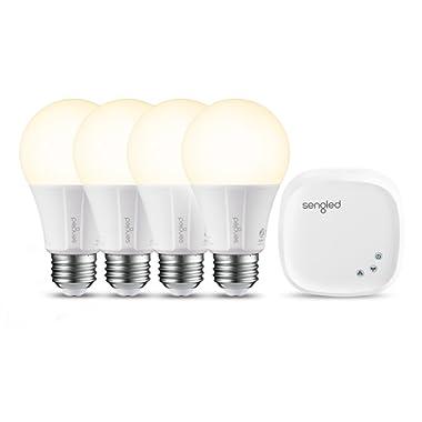Sengled Smart LED Soft White A19 Starter Kit, 2700K 60W Equivalent, 4 Light Bulbs & Hub, Works with Alexa & Google Assistant