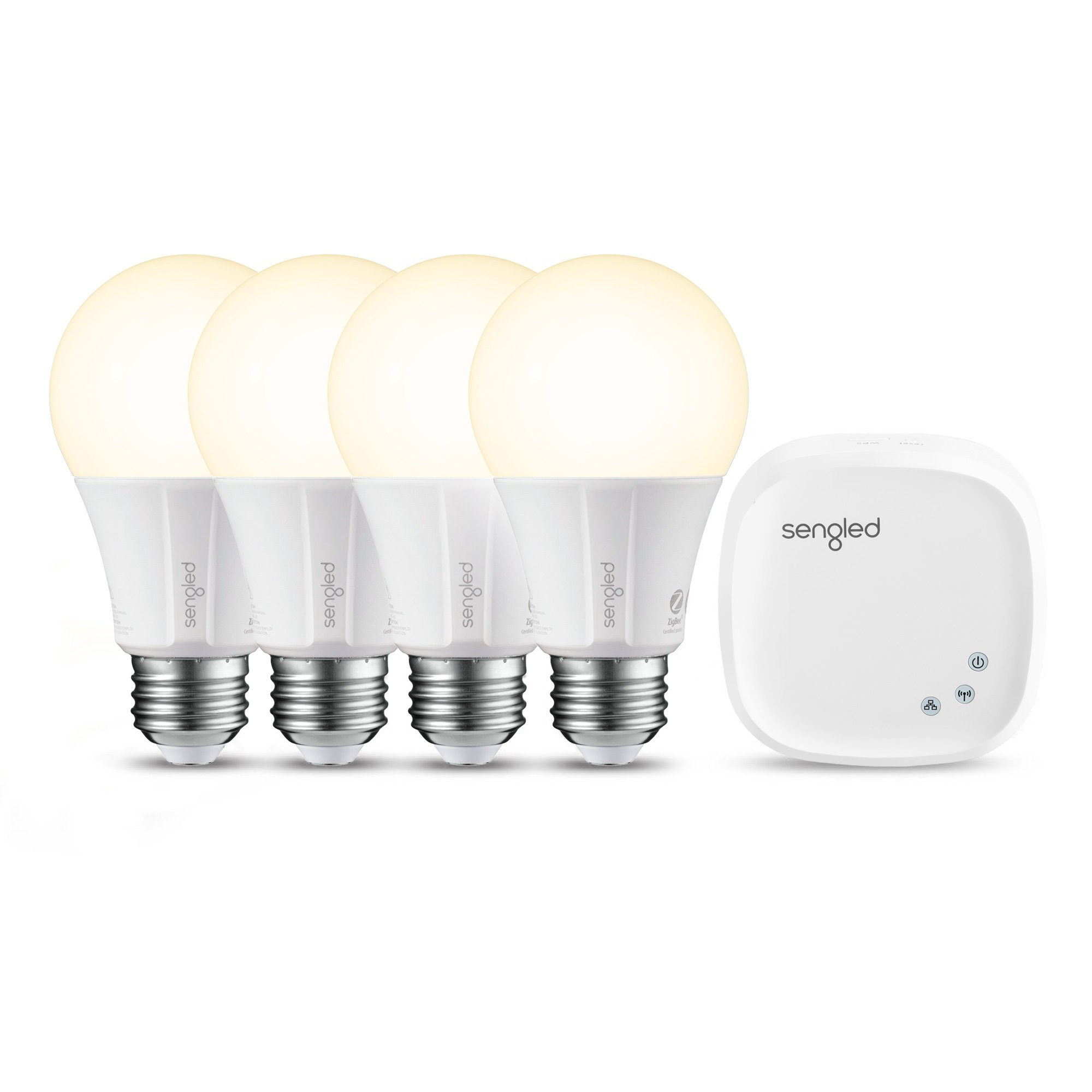 Sengled Element Classic Smart LED Light Bulbs, A19 Dimmable Soft White 2700K 60W Equivalent, Starter Kit (4 A19 Bulbs + hub), Works with Alexa/Google Assistant/IFTTT