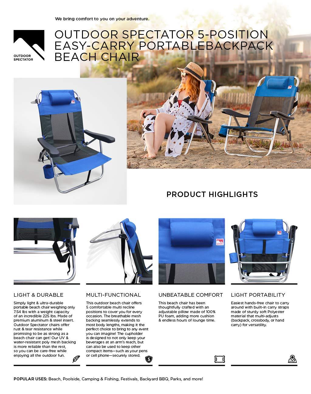 2-Pack Outdoor Spectator Multi-Position Flat Folding Mesh Ultralight Beach Chair