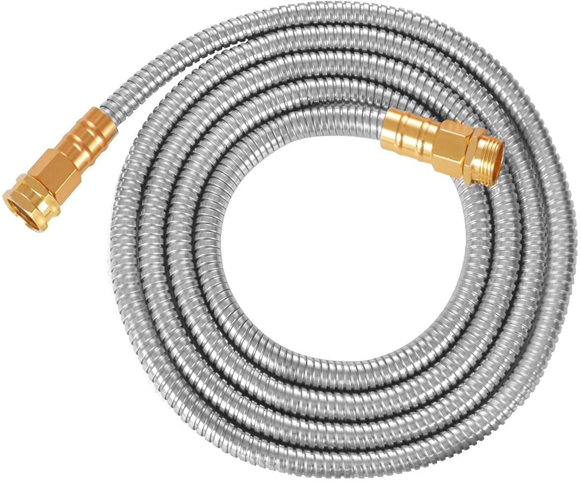 TOUCH-RICH 304 Stainless Steel Garden Hose, Lightweight Metal Hose, Guaranteed Flexible and Kink Free (10FT, Stainless)