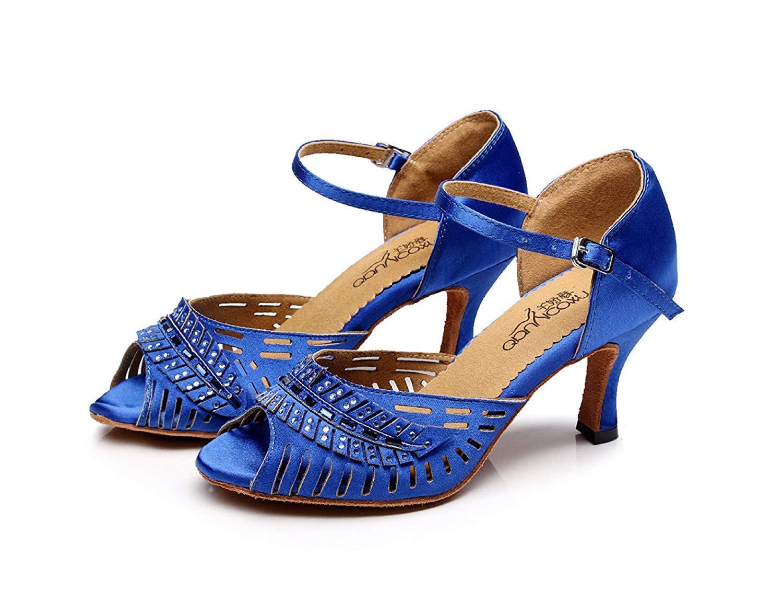 HhGold Lateinamerikanische Tanzschuhe für Chacha Damen Salsa Tango Chacha für Samba Modern Jazz Dance Sandalen Hohe Absätze Blauabsatz7.5cm-UK4.5   EU36   Our37 7b8b9b