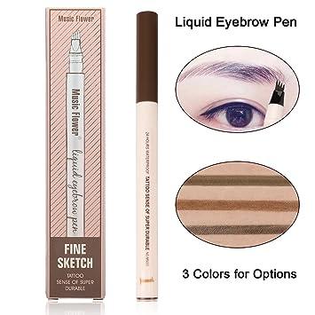 Amazon.com : Eyebrow Pen-Waterproof Microblading Eyebrow Pen Smudge-Proof Liquid Tattoo Pen-Four Tips Long-lasting Chestnut Eyebrow Pen for Eyes Makeup (01# ...
