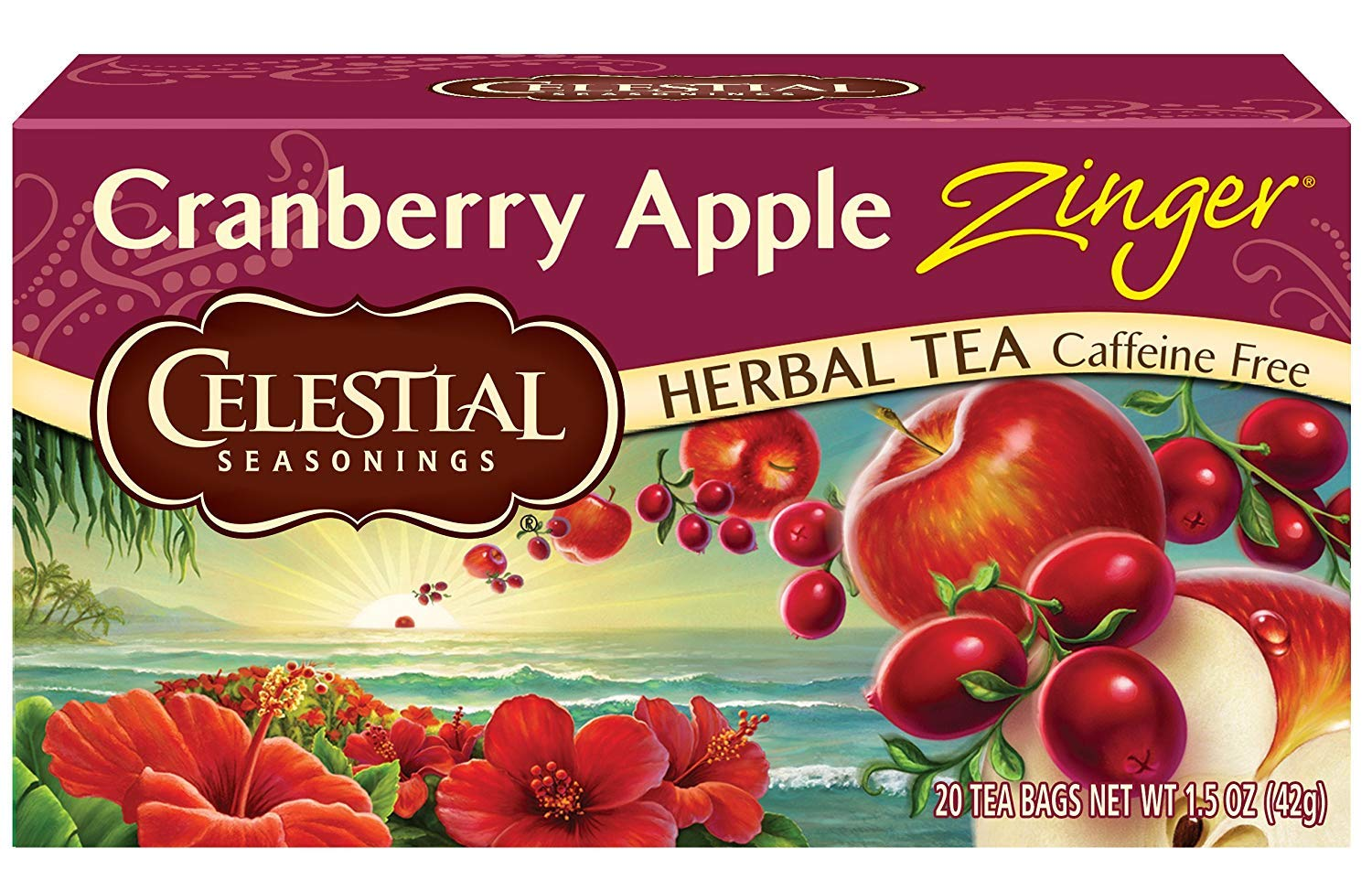 Celestial Seasonings Herbal Tea, Cranberry Apple Zinger, 20 Count (Pack of 6)