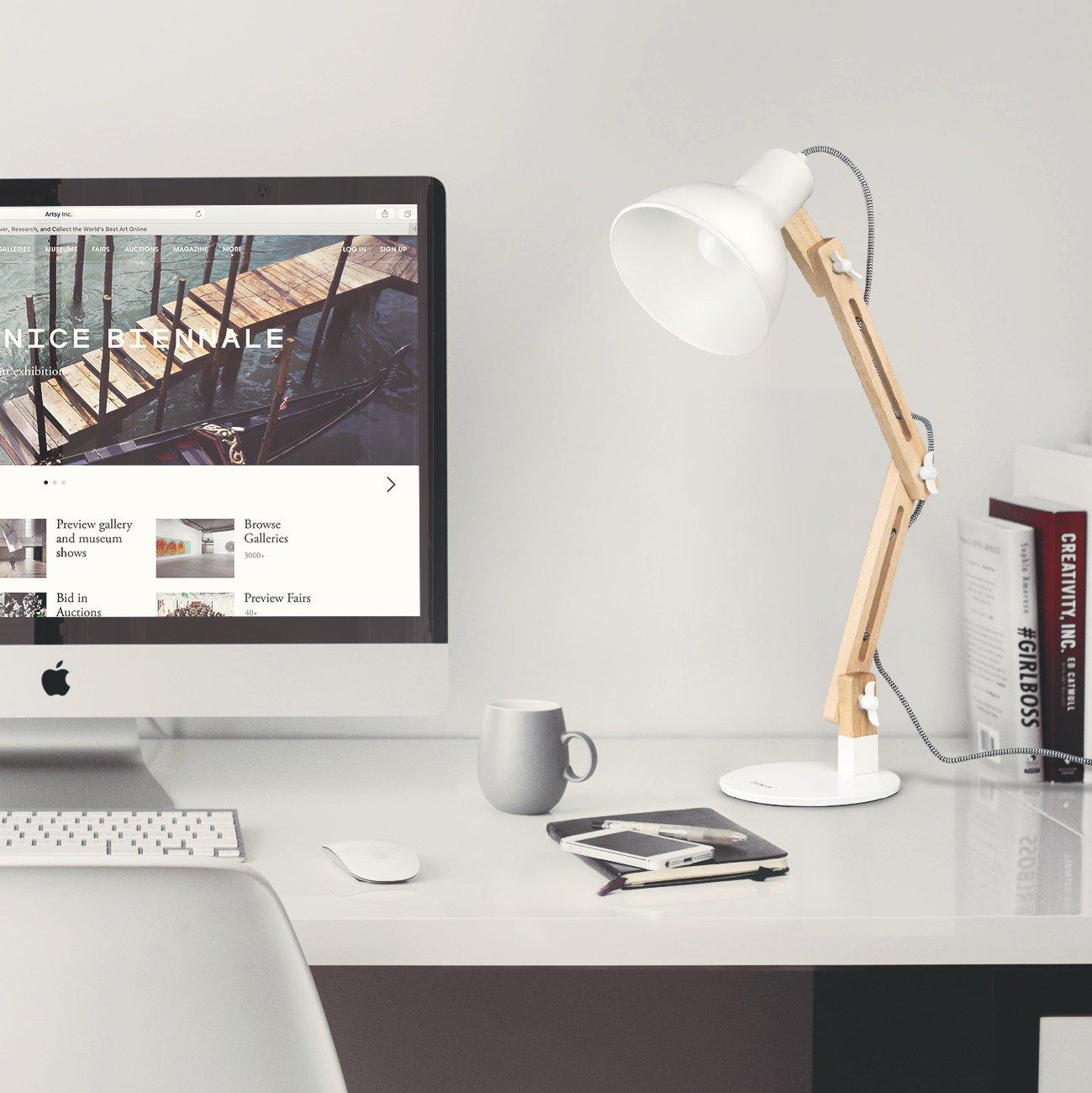 Tomons Wood Swing Arm Desk Lamp, Designer Table Lamp, Reading Lights ...