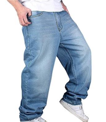 Pantalon Hip Hop Denim pour Homme Hellbalu Style Hipster Baggy Jeans  Classique Rap Denim Pantalon Décontracté fe4e2e57702