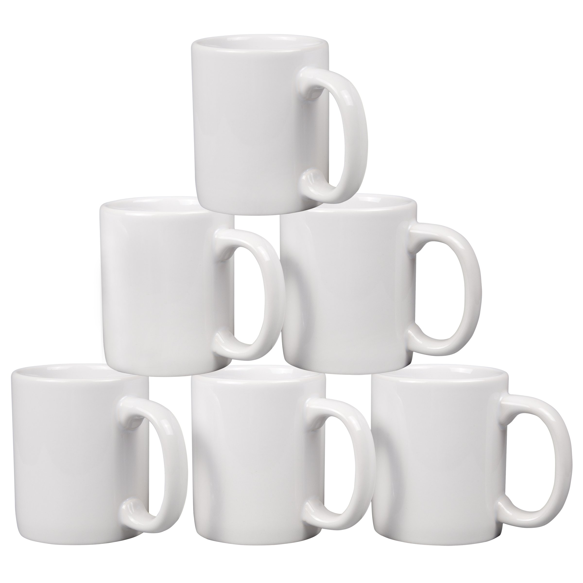 Creative Home 85355 Set of 6 Piece, 12 Oz Ceramic Coffee Mug Tea Cup, 3-1/4'' D x 4'' H, White by Creative Home (Image #2)