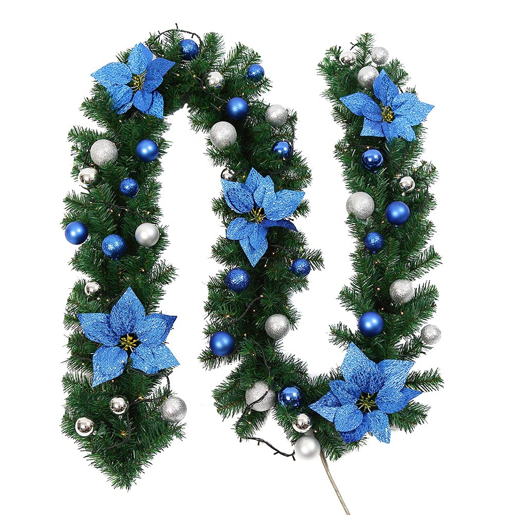 LEDMOMO 9 Foot Christmas Garland with Blue Berries and Lights Artificial Wreath Stairs Fireplace Xmas Tree Decoration ( Warm White)