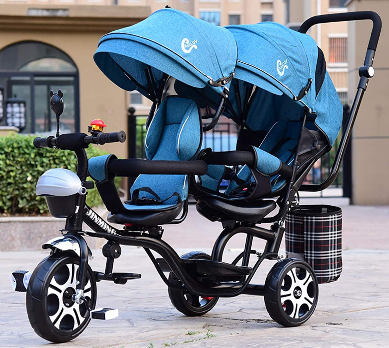 SAHRYTriciclo Bebe Evolutivo, Carrito Doble para niños con Triciclo Doble Doble Asiento Giratorio reclinable 1-7 años de Carro de bebé