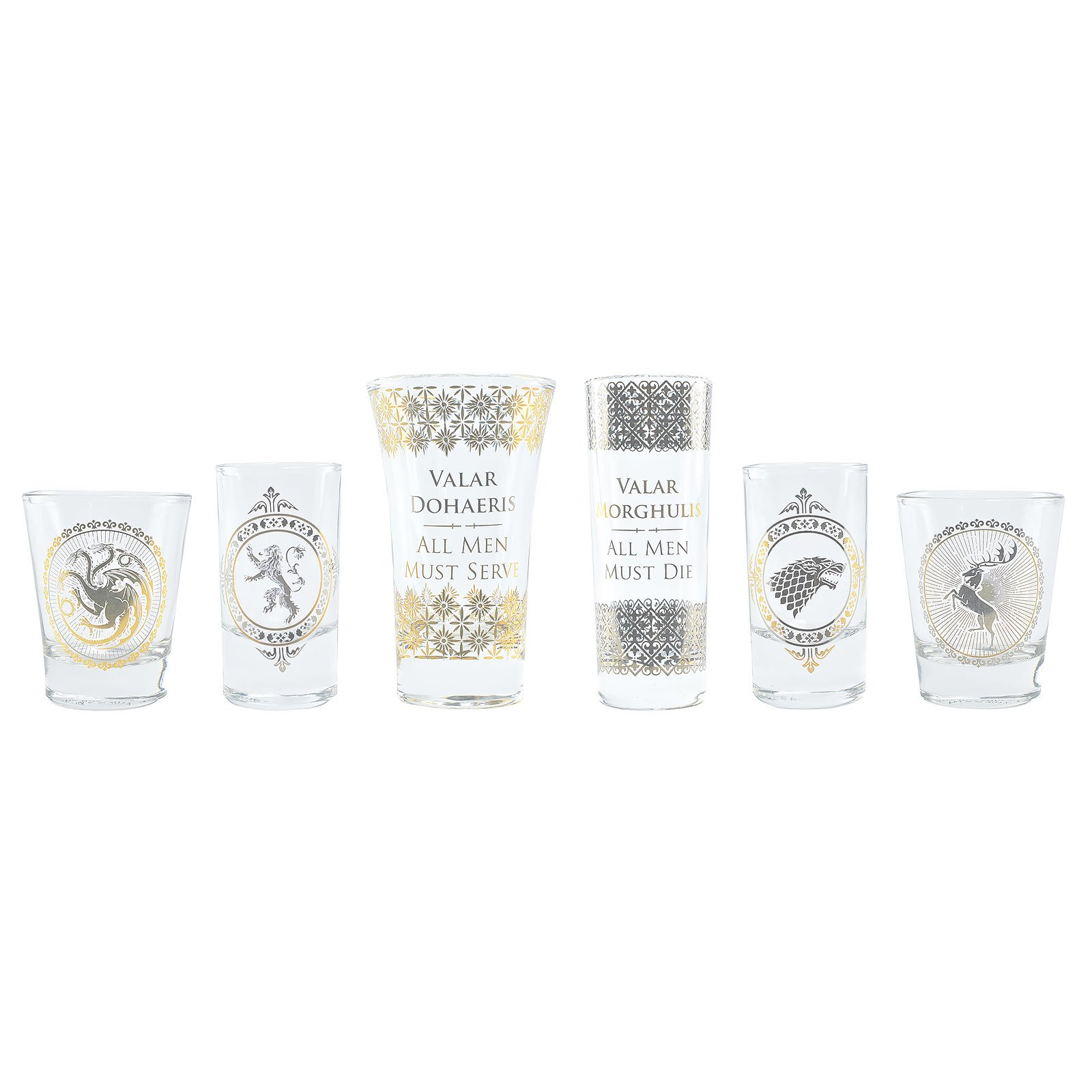Game Of Thrones Shot Glass Set - Black And Gold Premium