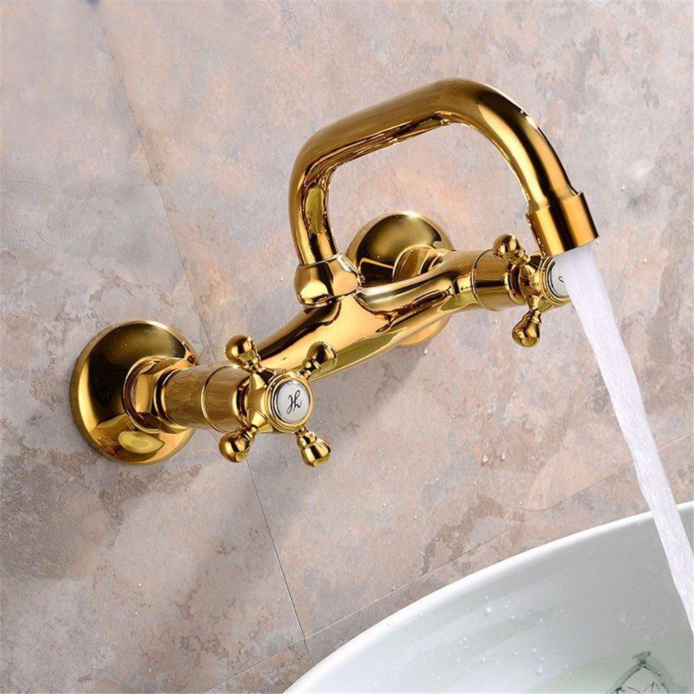 Rubinetto a parete oro/rubinetto in titanio effluente a parete/a parete tipo beccuccio per acqua calda e fredda Rubinetto del bacino