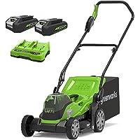 Greenworks Cortacésped con batería G24X2LM36K2x, Li-Ion 24VX2 36cm ancho corte hasta 250m² Bolsa captura hierba de 40L…