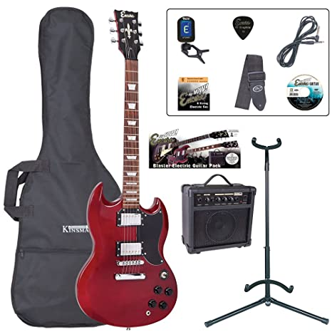 Encore EBP-E69CR de la guitarra eléctrica Bundle - rojo cereza
