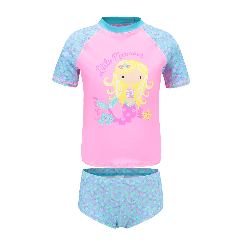 701c49f028961 Girls Two Piece Swimsuits Short Sleeve Rash Guard Swimwear Set Swim Shirt  Set product image