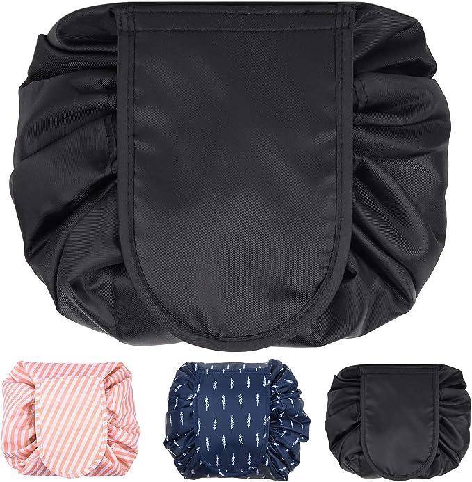 Quick Makeup Bag, Lazy Drawing Makeup Bag, Large Capacity Folding Cosmetic Bag for Women, Black: Amazon.co.uk: Beauty
