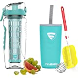 Fruitalite Fruit Infuser Water Bottle- 1 Litre, Colored Tritan Infusion Rod, Cover Sleeve, Infused Detox Water Recipes eBook, Cleaning Brush(Mint/Teal/Light Blue)