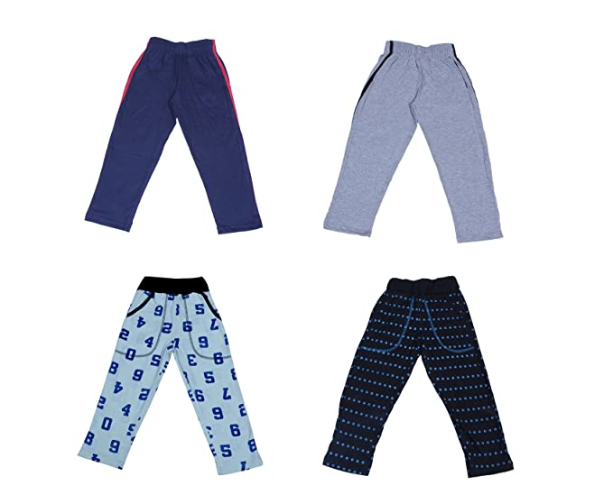 b68fd8e0c IndiWeaves Kids Boy's Plain & Printed Cotton Lower/Track Pant Pack of  4_Multicolor_36026273602931-IW