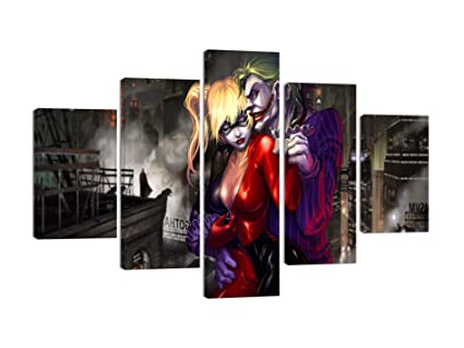 a280aa4876ee Dark Knight Joker and Harley Quinn Movie Canvas Wall Art Painting for  Living Room Home Decor
