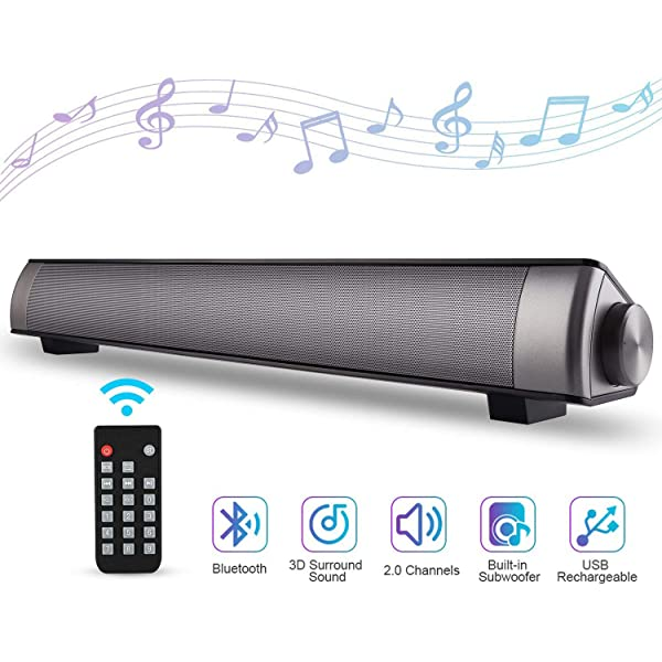 Home Powerful TV Sound Bar USB Speaker Bass Stereo Subwoofer Music Player for PC