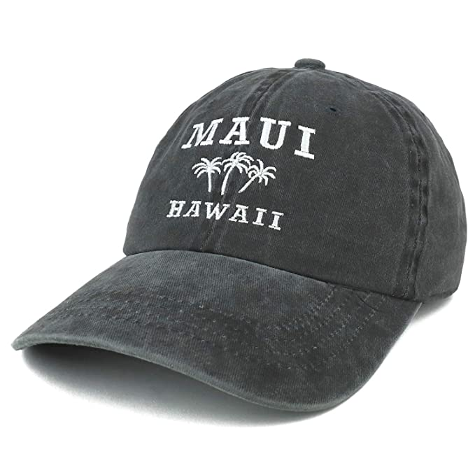d2dd4fe0d906cd Trendy Apparel Shop Maui Hawaii with Palm Tree Embroidered Unstructured  Baseball Cap - Charcoal