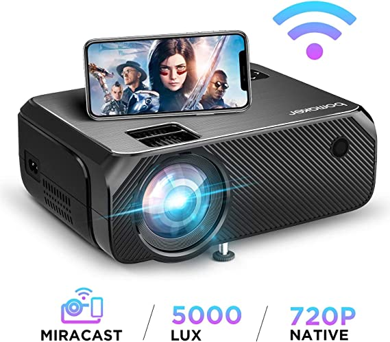 Vidéoprojecteur WiFi, Full HD 1080P Supporté 5000 Lux Wireless Screen Mirroring Projecteur, Native 720P Retroprojecteur HDMI Portable, 300'' Display Android / iOS / Ordinateur / PC / Windows 10 -GC355
