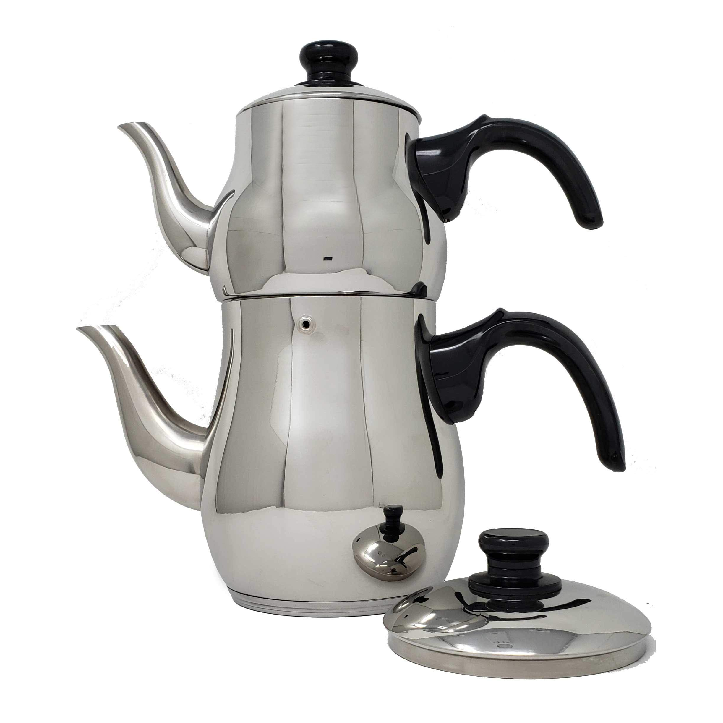 Turkish Samovar Style Stainless Steel Double Handle Teapot Tea Maker Kettle 1.1 L & 2.5 L Capacity