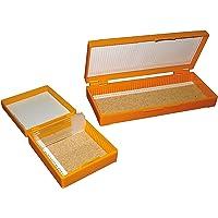 Caja para almacenar 100 portaobjetos con tapa bisagra