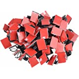 100 Pcs Car Cable Clips,HusDow Self Adhesive Cable Ties Car Holder Clamp Cord Organizer for All Cords, Wires, Lines and Cables