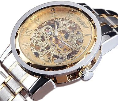 3867f8251 WINNER Men's Classic Skeleton Stainless Steel Mechanical Watch Stainless  Steel (SilverGold)