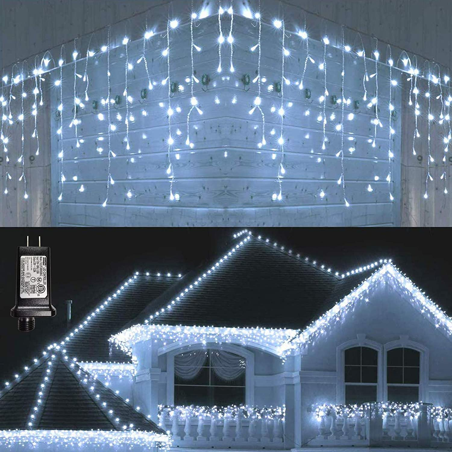 Lyhope Icicle Christmas Lights, 432 LED 35.4ft 8 Modes Low Voltage Icicle String Lights with 72 Drops, Window Curtain Fairy Lights for Xmas, Eaves, Wedding, Garden, Outdoor, Indoor Decor (White)