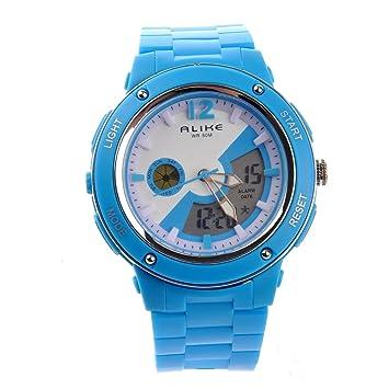 df5769d93 PIXNOR® Hora Dual AK14105 igualmente impermeable infantil deportes LED  Digital reloj de pulsera de cuarzo con fecha alarma /Stopwatch (celeste):  Amazon.es: ...