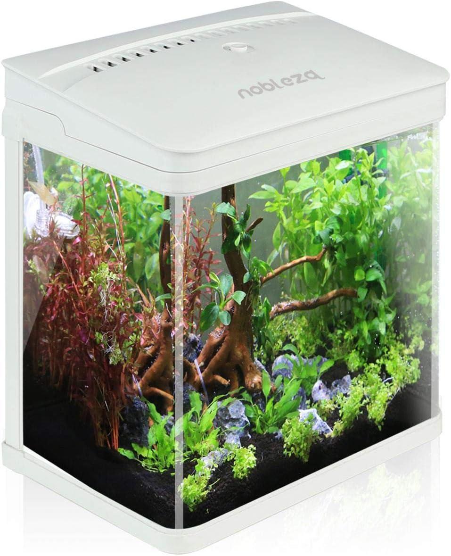Nobleza - Nano Acquario in Vetro per Pesci Acqua Tropicali con Illuminazione a LED e Filtro Inclusa. 7 Litri, Color Bianco.