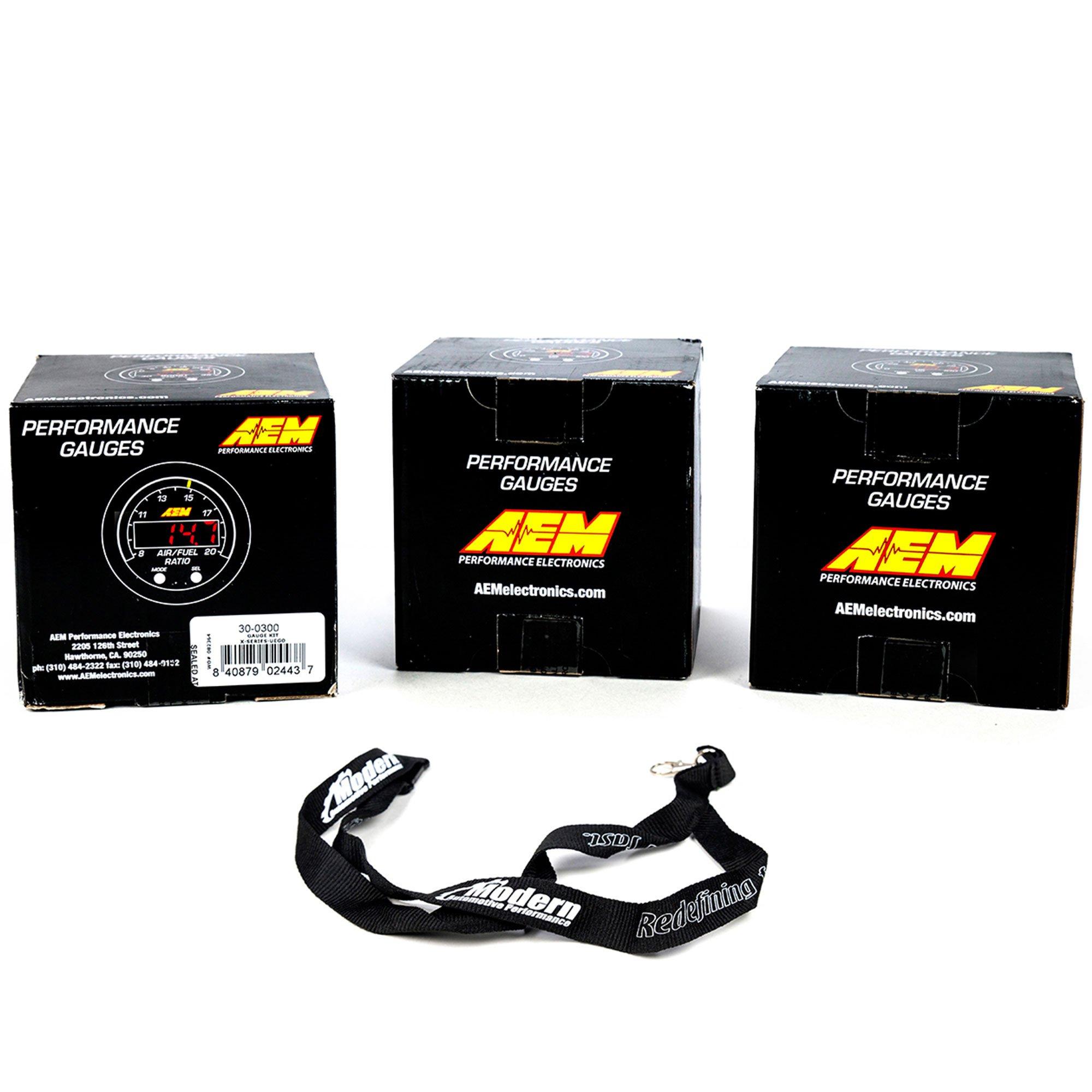 AEM 52mm X-Series Gauge Kit Wideband Air/Fuel & Oil/Fuel Pressure & Boost Turbo w/MAP Lanyard Black