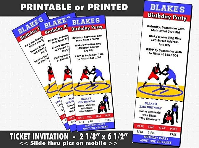 Amazon wrestling match birthday party ticket invitation wrestling match birthday party ticket invitation printable or printed option filmwisefo
