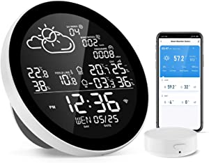 Dekala Smart Wireless Weather Station, Indoor Outdoor Thermometer Hygrometer with Sensor, Digital Temperature Humidity Monitor and Alerts, Ideal for Home, Office, Restaurants