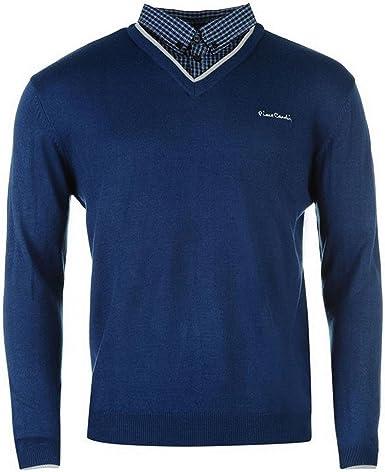 Pierre Cardin – Pull con falso cuello de camisa, para hombre azul XXL: Amazon.es: Ropa y accesorios