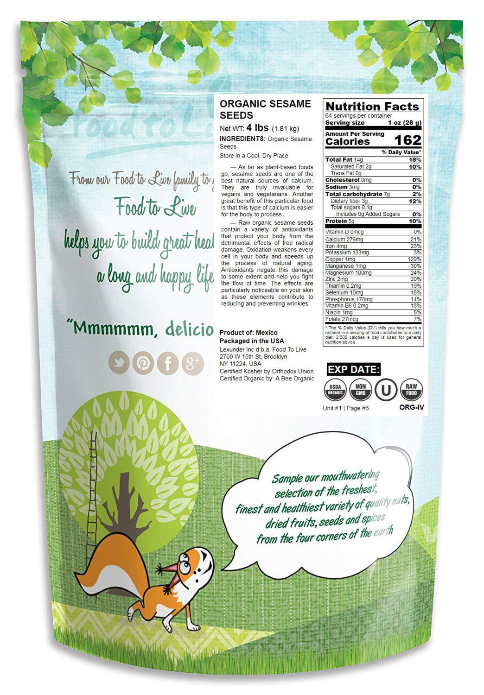 Semillas de sésamo Bio, 4 Libras - Eco, Ecológico, sin cáscara ...