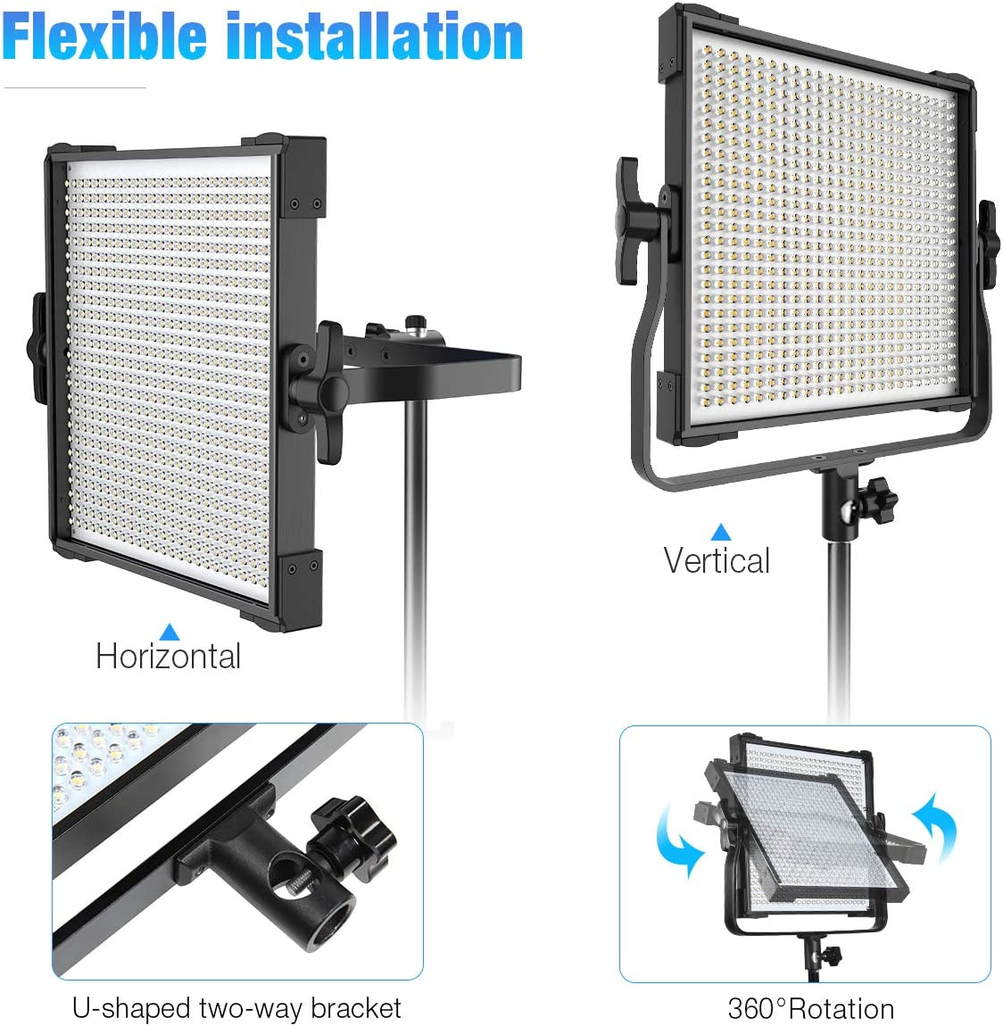 CRI96+ Dimmable Bi-Color 3000K-8000K Panel Light for Portrait Product Shooting Video Recording Switti 2-Packs 600 LED Video Light Photography Lighting Kit with Light Stand Softbox