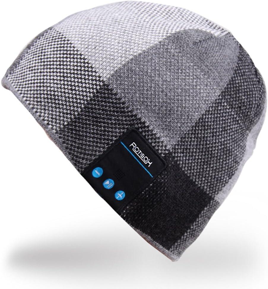 Rotibox Hombre Mujer Bluetooth Audio Gorra Cap Gorra con Altavoz Estéreo Auriculares, micrófono, Manos Libres y batería Recargable - Negro