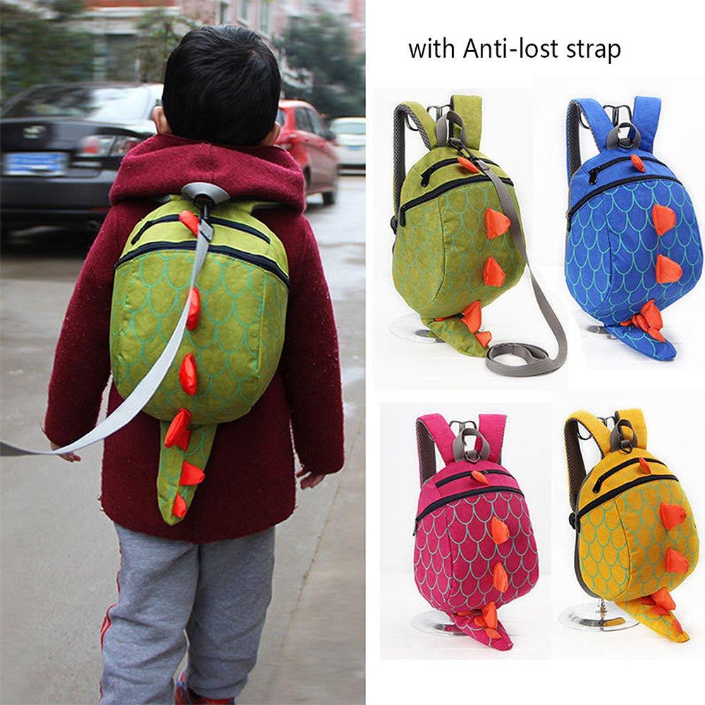 Unisex Infantiles Mochilas para Ni/ñas Ni/ño 3D Dinosaurio Backpacks Anti Perdidos 1-5 A/ños amarillo