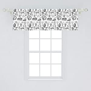 Ambesonne Grape Window Valance, Winery and Wine Making Theme Hand Drawing Pattern Sketch Bottle Glass Cheese, Curtain Valance for Kitchen Bedroom Decor with Rod Pocket, 54