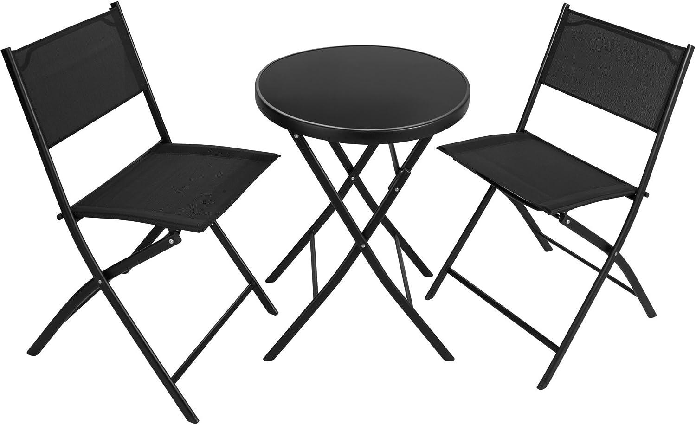 TecTake - Set de 2 sillas + 1 mesa. Estructura de acero