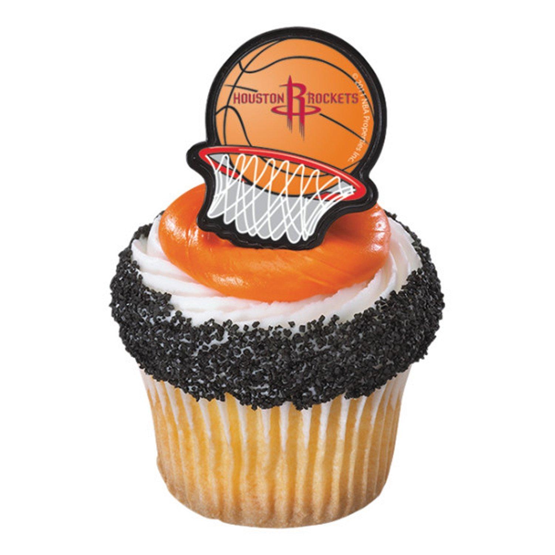 24  Houston Rockets Basketball Cupcake Ring Favor Rings Topper Birthday