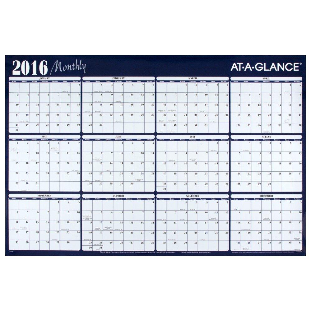 amazon com at a glance erasable wall calendar 2017 12 months