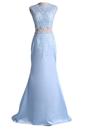 Lucysprom Two-Piece Mermaid Sweep Train Prom Dresses Applique Formal Dresses Light Sky Blue Size