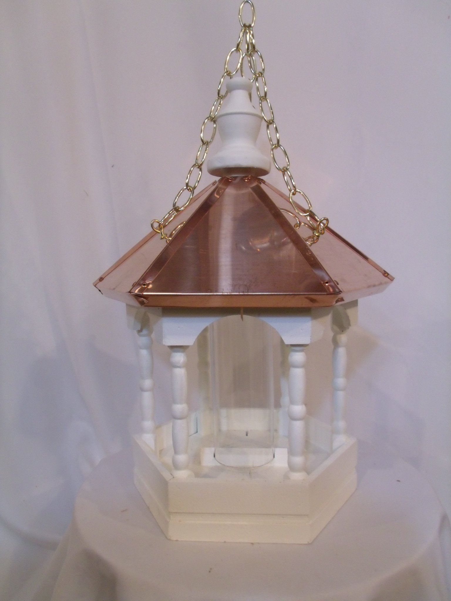 Hanging Copper top Roof Bird Feeder Amish Made in USA Large 22 inches TALL