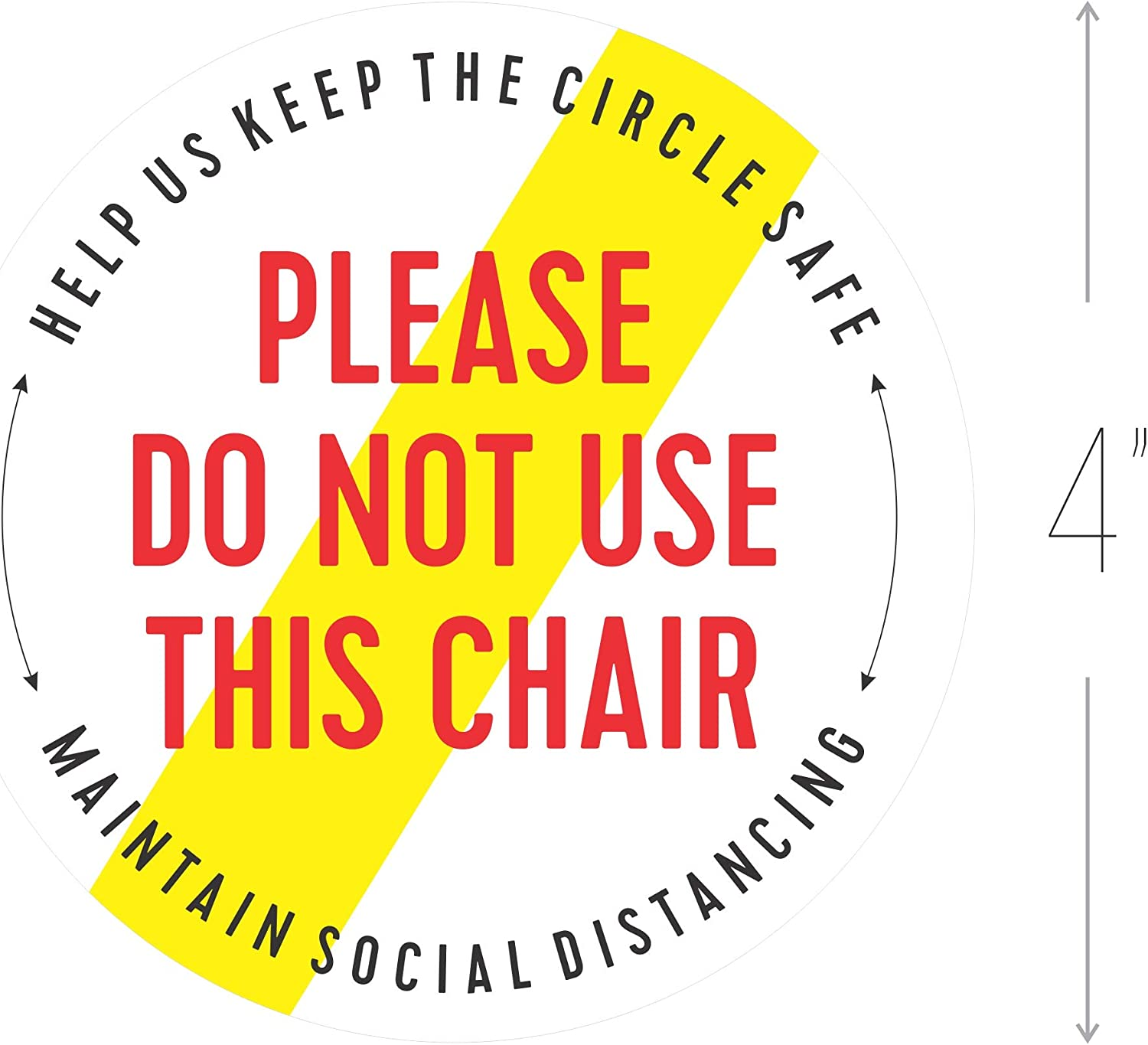 Do not sit here Chair Sticker 20 Pack, Social Distancing Sign, Commercial Grade (Uneven Cut (20 Pack))