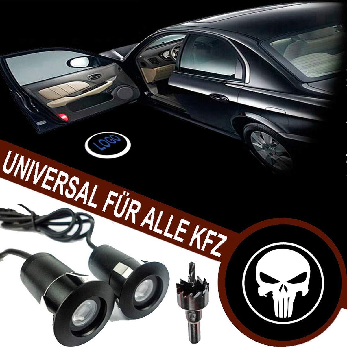 universal for Alle KFZ Geist Schatten Lampe VAWAR Autot/ür Logo Licht 12V LED Projektor 5th Gen Ghost Shadow Willkommen Einstiegsbeleuchtung