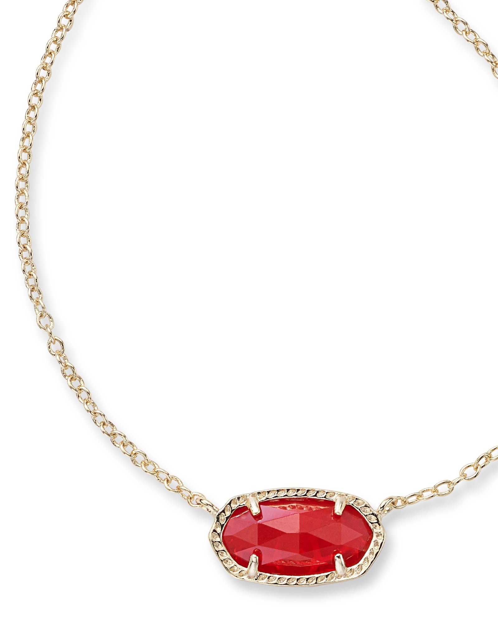 Kendra Scott Women's Elisa Birthstone Necklace July/Gold/Ruby Red Clear Glass Necklace